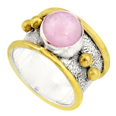 3.40cts victorian natural pink kunzite 925 silver two tone ring size 8.5 r21128