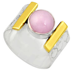 3.01cts victorian natural pink kunzite 925 silver two tone ring size 7 r21130