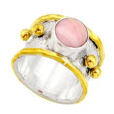 3.24cts victorian natural pink opal 925 silver two tone ring size 5.5 r21071