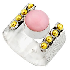 3.28cts victorian natural pink opal 925 silver two tone ring size 7.5 r21073