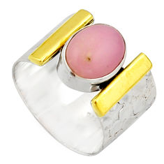 4.38cts victorian natural pink opal 925 silver two tone ring size 7.5 r21076