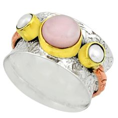 3.99cts victorian natural pink opal 925 silver two tone ring size 8.5 r22184