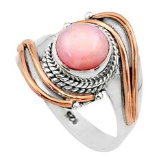 2.39cts victorian natural pink opal 925 silver two tone ring size 7 t57271