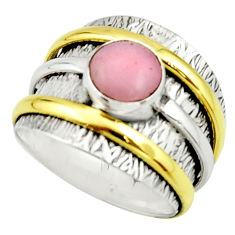 3.39cts victorian natural pink opal 925 silver two tone ring size 8 r22161