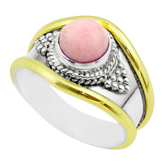 2.56cts victorian natural pink opal 925 silver two tone ring size 8 t57275