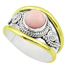 2.44cts victorian natural pink opal 925 silver two tone ring size 8 t57280