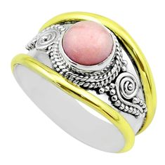 2.33cts victorian natural pink opal 925 silver two tone ring size 8.5 t57273