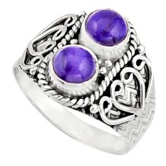 2.44cts victorian natural purple charoite 925 silver two tone ring size 8 r21100