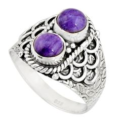 2.44cts victorian natural purple charoite silver two tone ring size 8.5 r21138