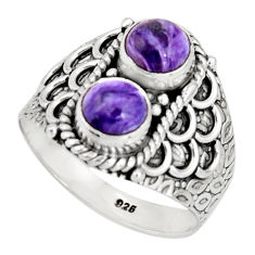 2.35cts victorian natural purple charoite silver two tone ring size 8.5 r21139