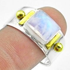 3.10cts victorian natural rainbow moonstone silver two tone ring size 10 t57419