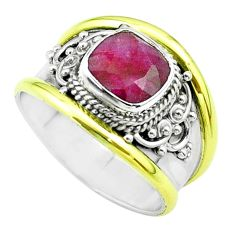 2.46cts victorian natural red ruby 925 silver two tone ring size 7 t57361