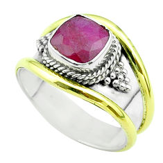 2.46cts victorian natural red ruby 925 silver two tone ring size 8 t57365