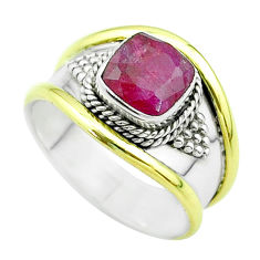 2.46cts victorian natural red ruby 925 silver two tone ring size 8 t57411