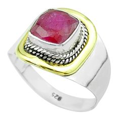 2.58cts victorian natural red ruby 925 silver two tone ring size 7.5 t57376