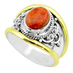 3.14cts victorian natural red sponge coral silver two tone ring size 7 t57253