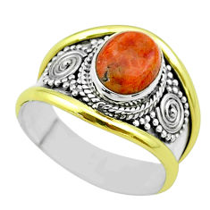 3.25cts victorian natural red sponge coral silver two tone ring size 8 t57254