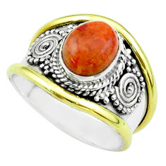 3.41cts victorian natural red sponge coral silver two tone ring size 8 t57351