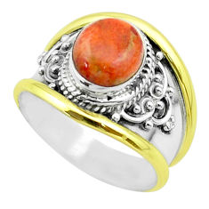 3.14cts victorian natural sponge coral 925 silver two tone ring size 6 t57250