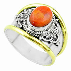 3.17cts victorian natural sponge coral 925 silver two tone ring size 7.5 t57401