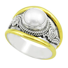 2.46cts victorian natural white pearl round silver two tone ring size 6 t57190