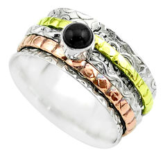 0.52cts victorian onyx 925 silver two tone spinner band ring size 7.5 t51661