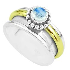 Victorian rainbow moonstone silver two tone spinner band ring size 8.5 t51812