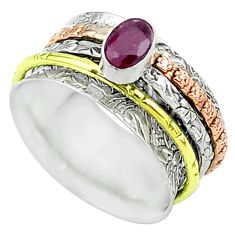 1.12cts victorian red garnet 925 silver two tone spinner band ring size 8 t51688