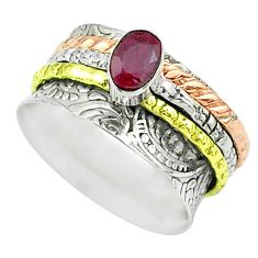 1.05cts victorian red ruby 925 silver two tone spinner band ring size 7 t51692