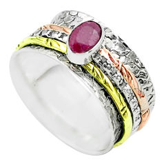 0.96cts victorian red ruby 925 silver two tone spinner band ring size 8 t51643