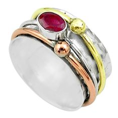 1.06cts victorian red ruby 925 silver two tone spinner band ring size 8.5 t51560