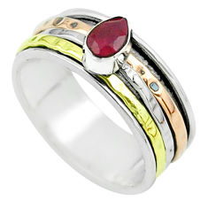 1.05cts victorian ruby 925 silver two tone spinner band ring size 7.5 t51602