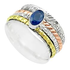 1.12cts victorian sapphire 925 silver two tone spinner band ring size 8 t51507