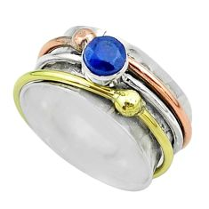 1.06cts victorian sapphire 925 silver two tone spinner band ring size 8 t51558