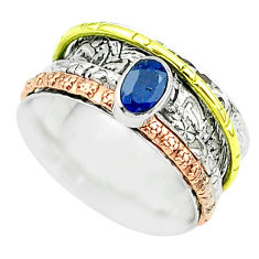 1.14cts victorian sapphire 925 silver two tone spinner band ring size 8 t51681