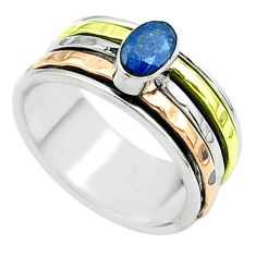 1.00cts victorian sapphire 925 silver two tone spinner band ring size 7.5 t51609