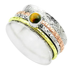 Victorian tiger's eye 925 silver two tone spinner band ring size 8.5 t51696
