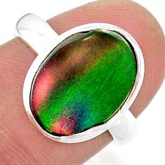 3.83cts volcano aurora opal (lab) silver solitaire ring jewelry size 7 t25080