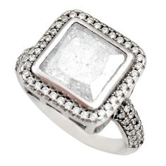 6.83cts white crack crystal topaz 925 sterling silver ring jewelry size 7 c9114