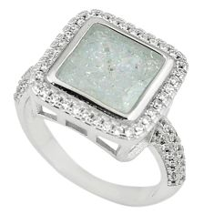 White crack crystal topaz round 925 sterling silver ring size 7.5 c22930
