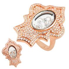White cubic zirconia 925 silver 14k rose gold moving stone ring size 6.5 c22026