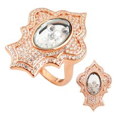 White cubic zirconia 925 silver 14k rose gold moving stone ring size 7.5 c22027