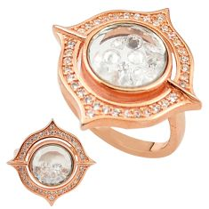 White cubic zirconia 925 silver 14k rose gold moving stone ring size 6.5 c22029