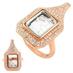 White cubic zirconia 925 silver 14k rose gold moving stone ring size 6.5 c22030