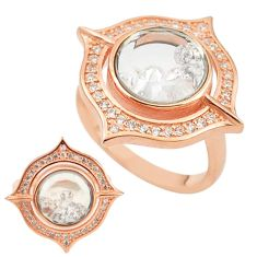 White cubic zirconia 925 silver 14k rose gold moving stone ring size 7.5 c22037