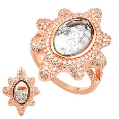 White cubic zirconia 925 silver 14k rose gold moving stone ring size 7.5 c22040
