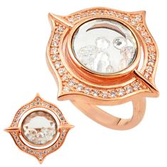 White cubic zirconia 925 silver 14k rose gold moving stone ring size 6 c22038