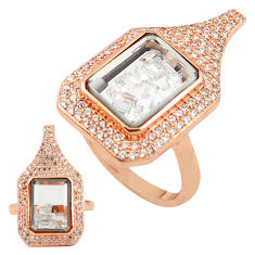 White cubic zirconia 925 silver 14k rose gold moving stone ring size 7 c22028