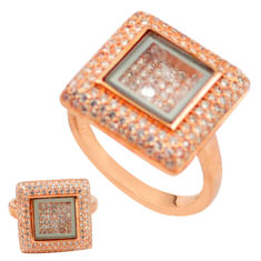 White cubic zirconia 925 silver 14k rose gold moving stone ring size 7 c22032