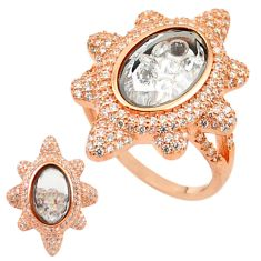 White cubic zirconia 925 silver 14k rose gold moving stone ring size 8 c22035